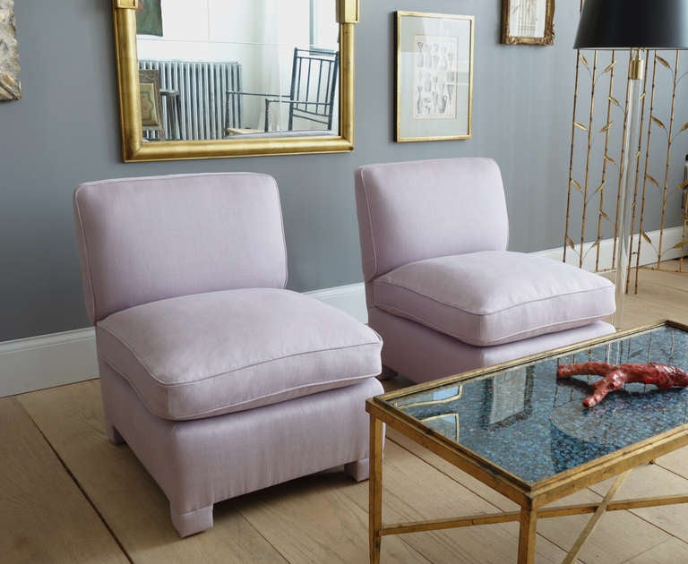Pair of Slipper Chairs Attributed to Billy Baldwin For Sale 1