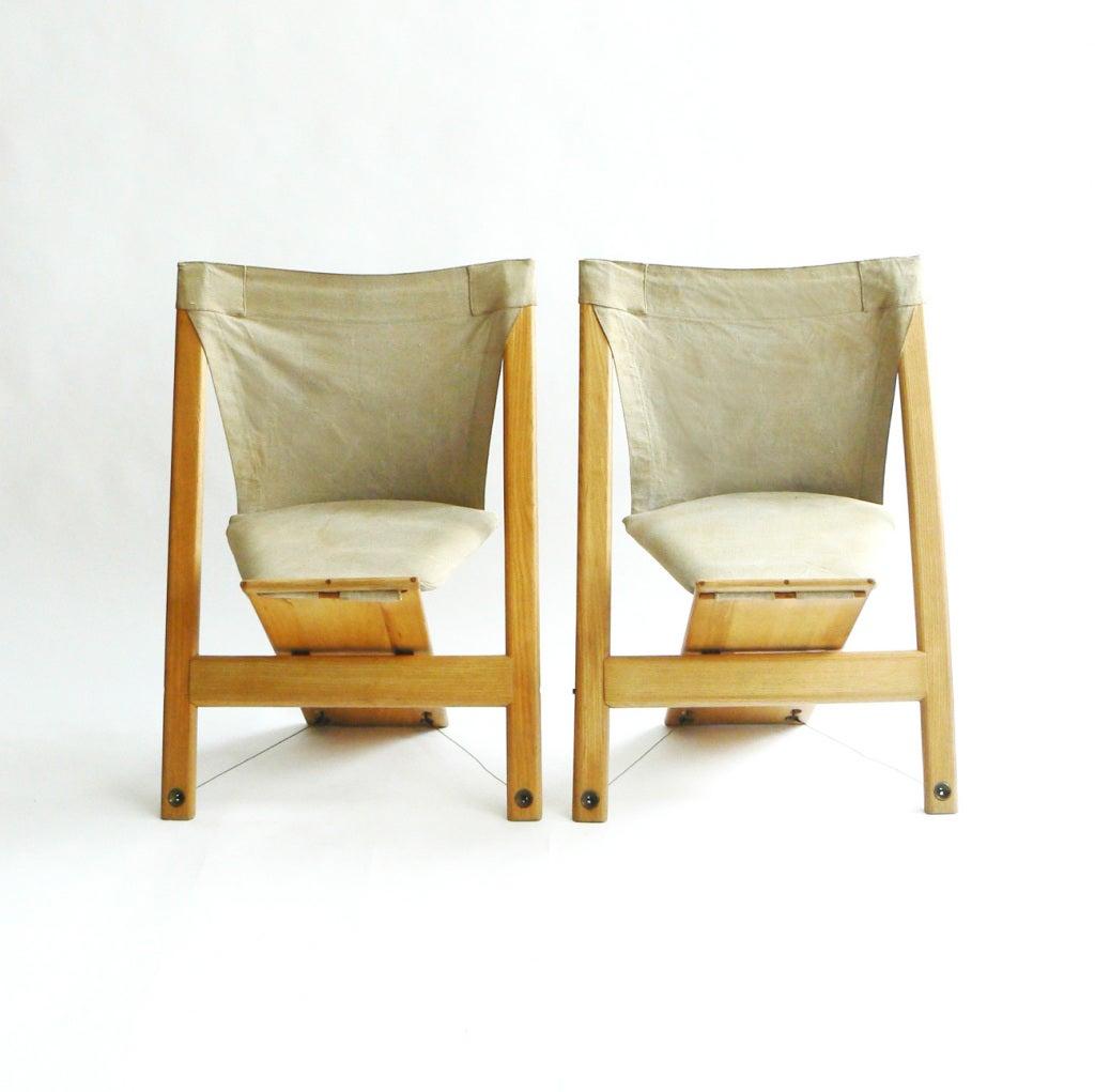 Italian Pair of Rare Giovanni Offredi Gambacorda Chairs
