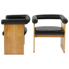 Pair of Leather and Limed Oak Minimalist Armchairs