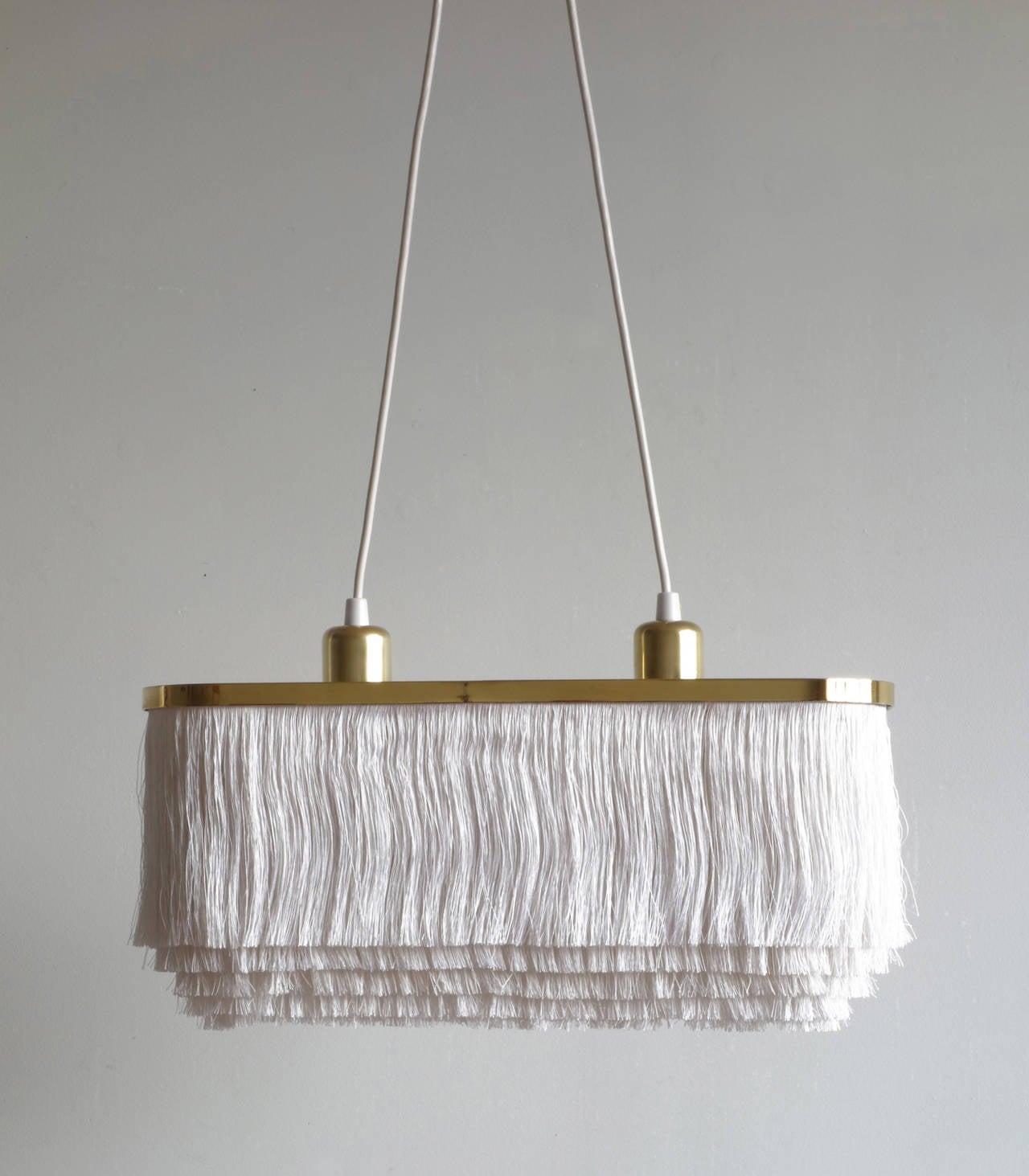 silk fringe brass pendant lamp by hans agne jakobsson at 1stdibs. Black Bedroom Furniture Sets. Home Design Ideas