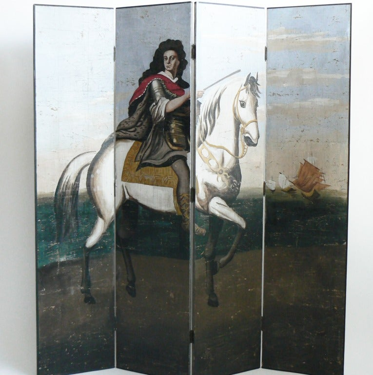 Hand-blocked and painted wallpaper scene of an early 17th century nobleman on horseback, holding a staff of command, with three galleons in the distance off-shore.