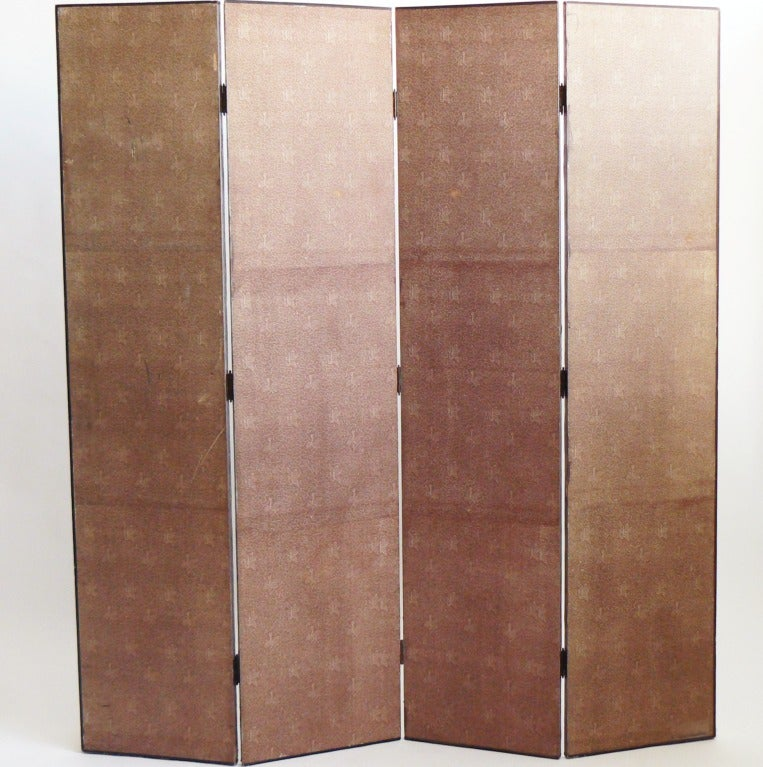 Four-panel Polychrome Wallpaper Folding Screen In Good Condition For Sale In New York, NY