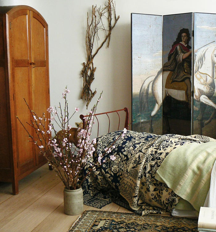 19th Century Four-panel Polychrome Wallpaper Folding Screen For Sale