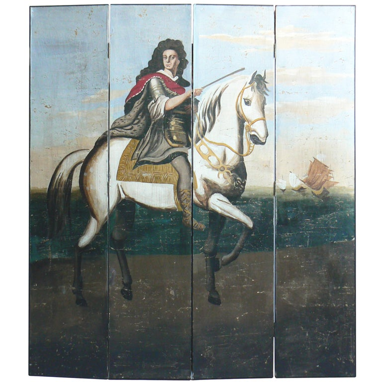 Four-panel Polychrome Wallpaper Folding Screen For Sale