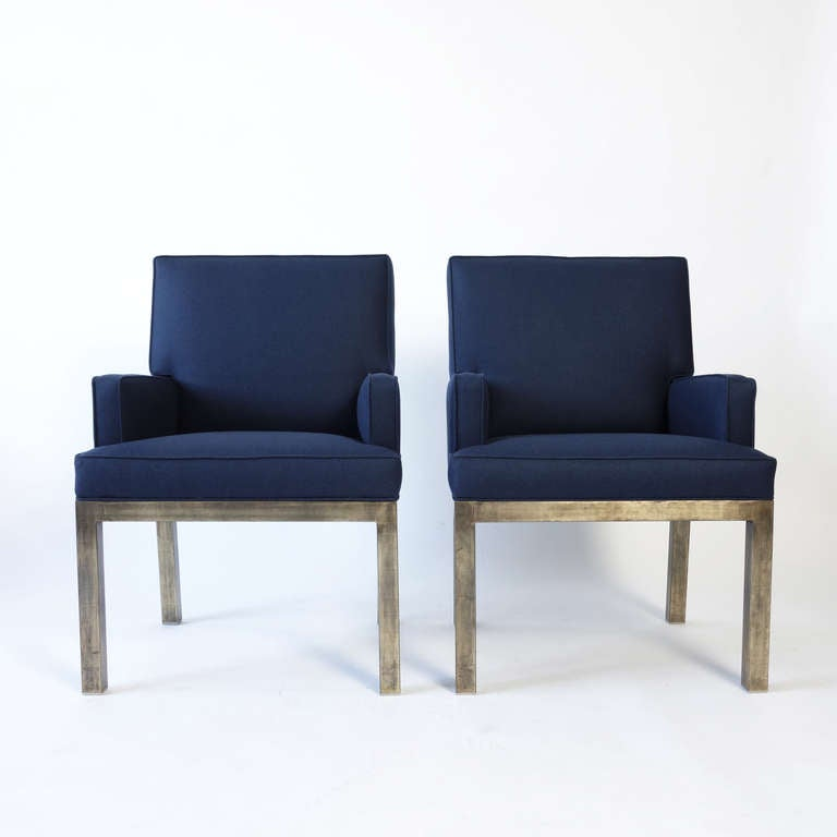 Stylish Bronzed Steel And Flannel Upholstered Armchairs For Sale 1