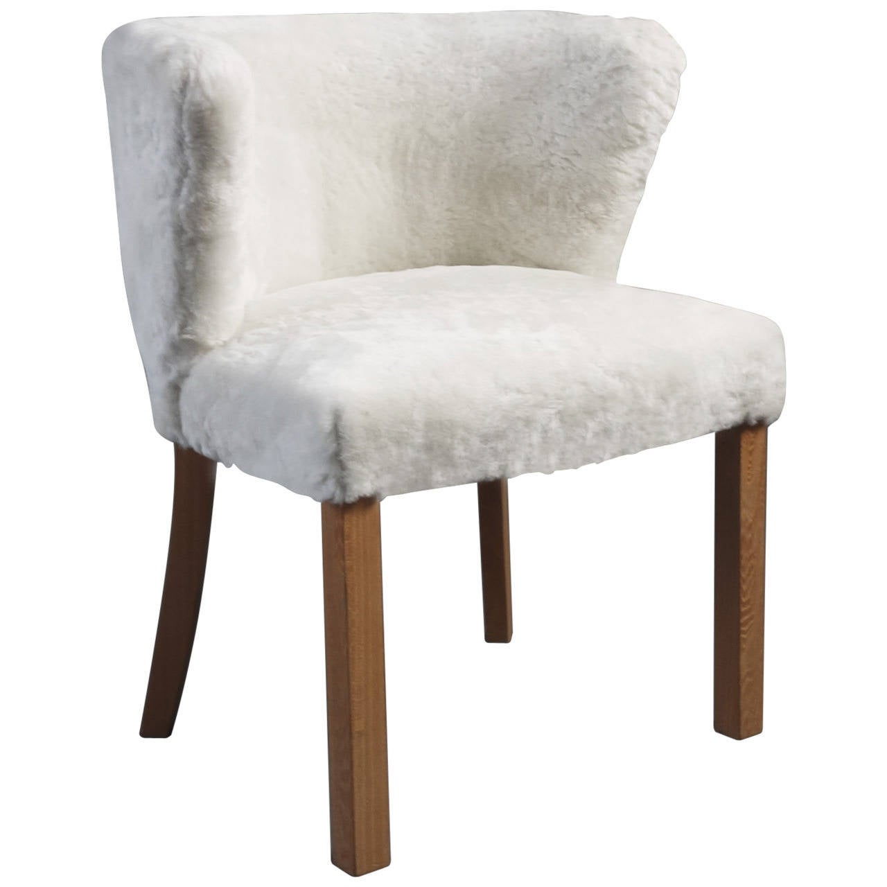 fritz hansen shearling upholstered armchair at 1stdibs. Black Bedroom Furniture Sets. Home Design Ideas