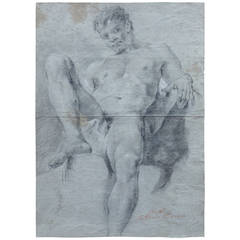 Double-Sided Academic Study of a Male Nude Drawing