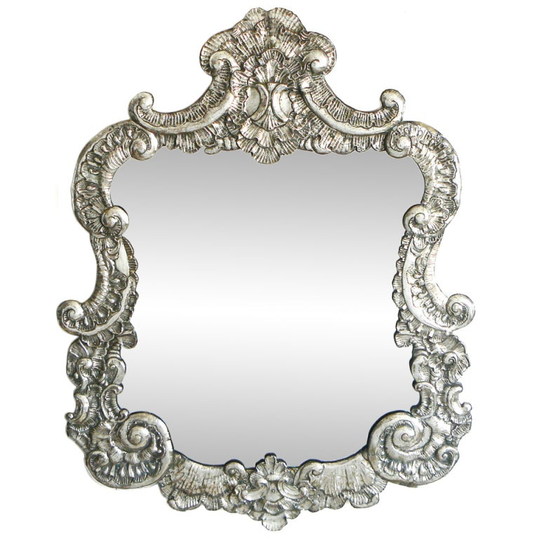 Large Italian Baroque Silver Repousse Mirror 1