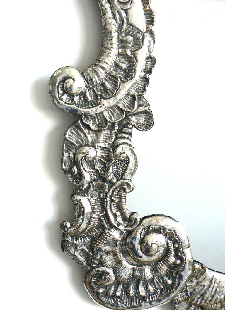 Large Italian Baroque Silver Repousse Mirror 5