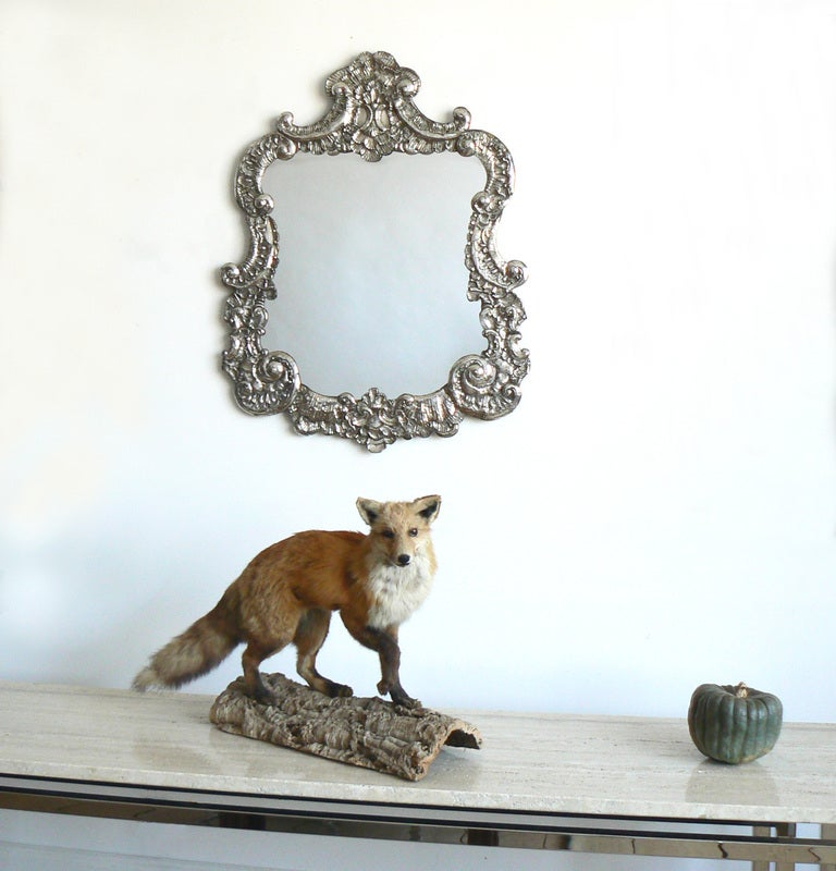 Large Italian Baroque Silver Repousse Mirror 7