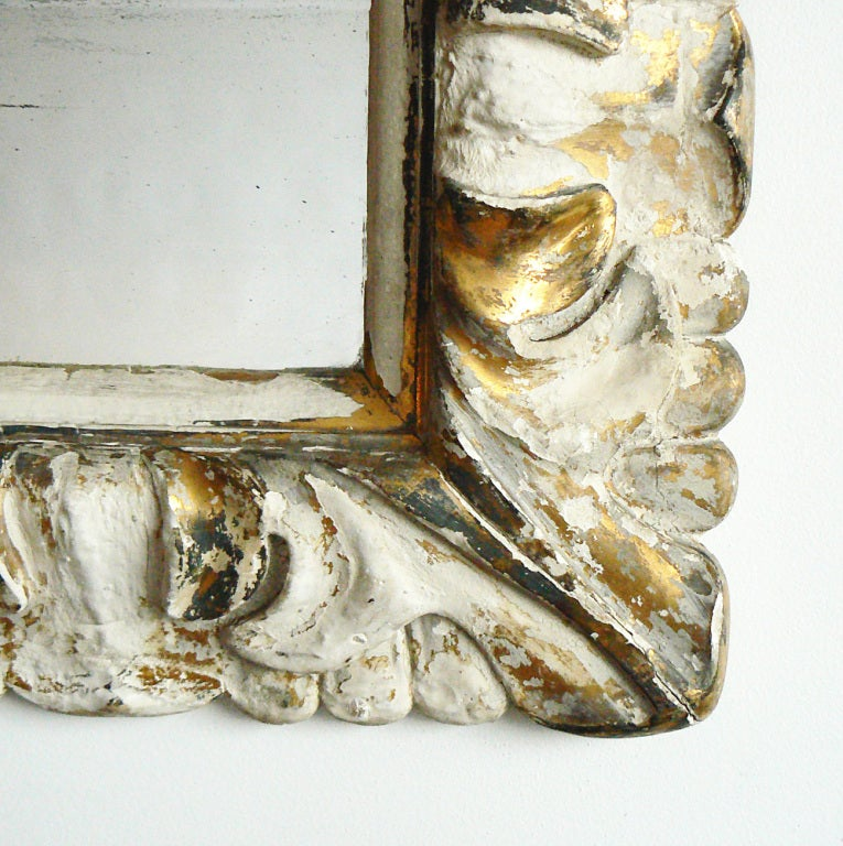 19th Century Italian Carved Wood Gilt Plaster Mirror For Sale
