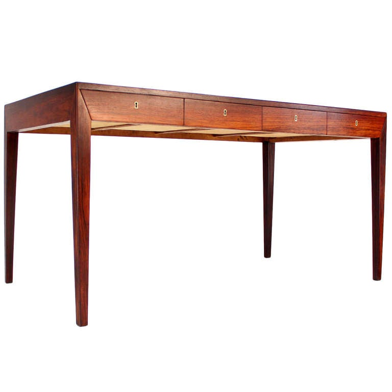 rosewood danish modern writing table desk with four drawers at 1stdibs. Black Bedroom Furniture Sets. Home Design Ideas