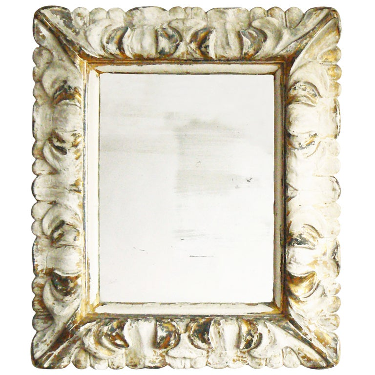 Italian Carved Wood Gilt Plaster Mirror For Sale