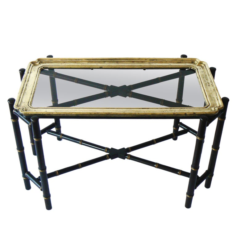 Vintage Baker Faux Bamboo And Brass Tray Table At 1stdibs
