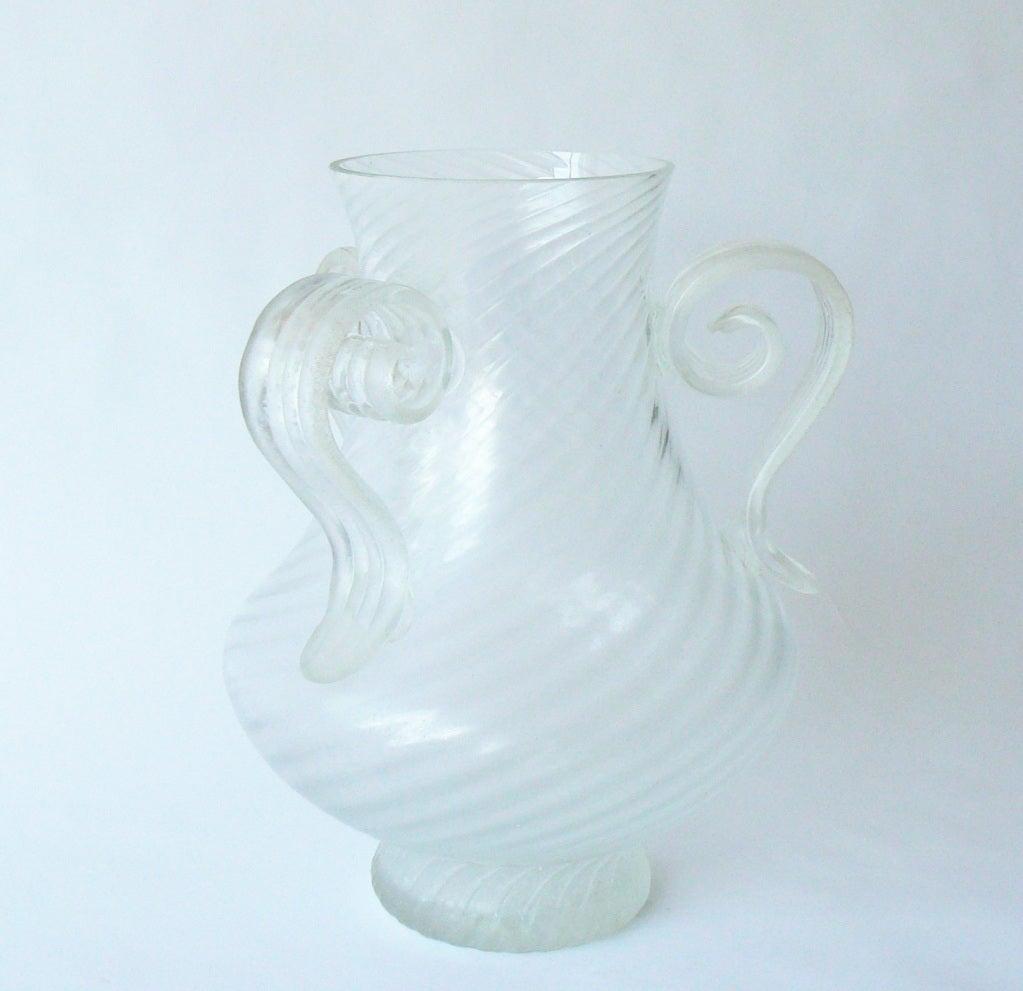 Italian Large Hand Blown Scavo Glass Vase