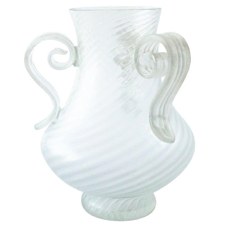Large Hand Blown Scavo Glass Vase