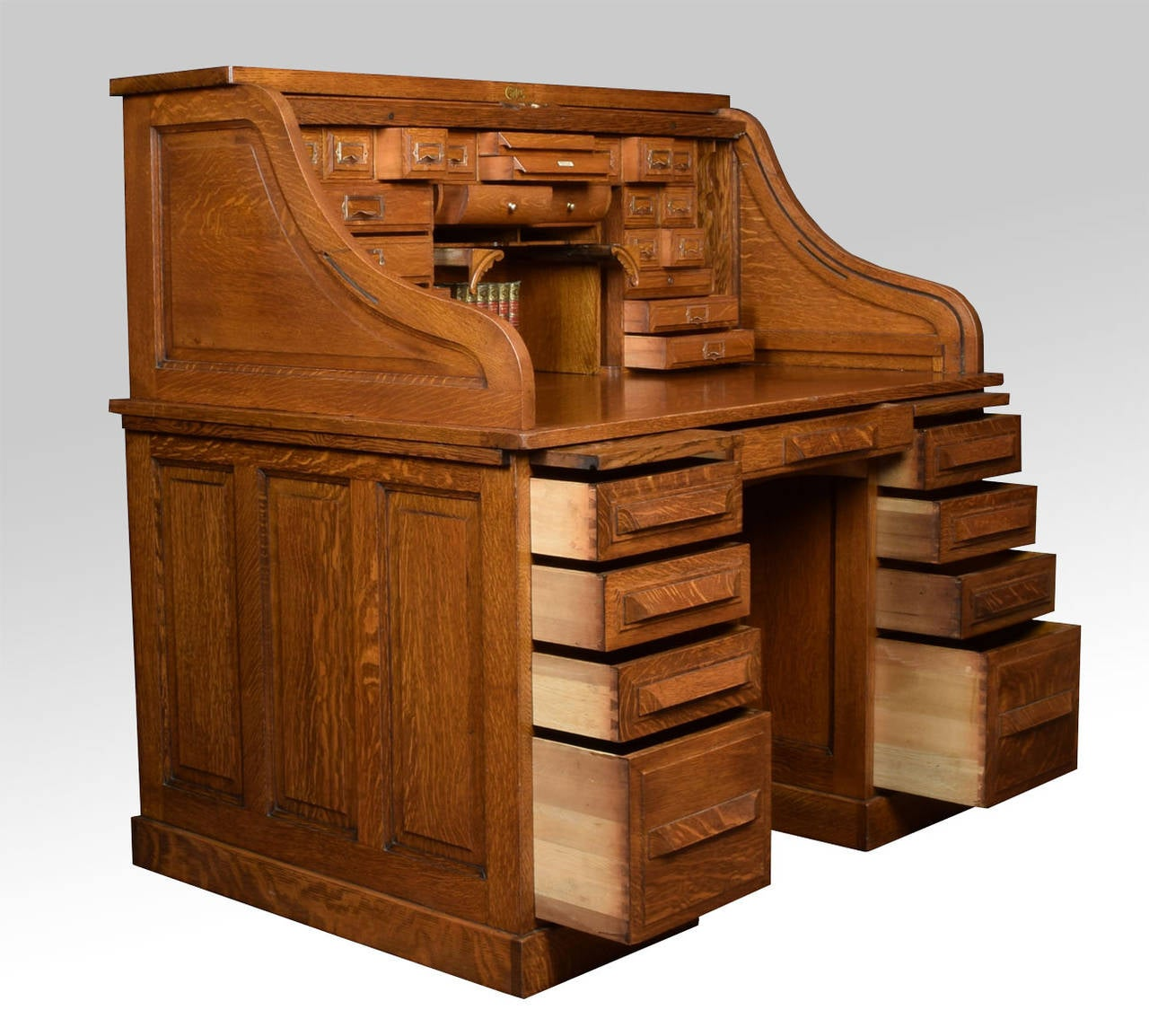 Oak Pedestal Roll Top Desk by Cutler at 1stdibs