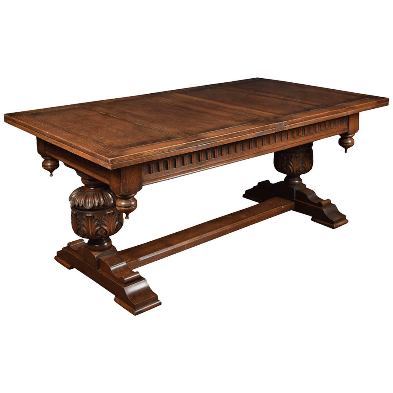 Large oak refectory dining table at 1stdibs for Oak dining table