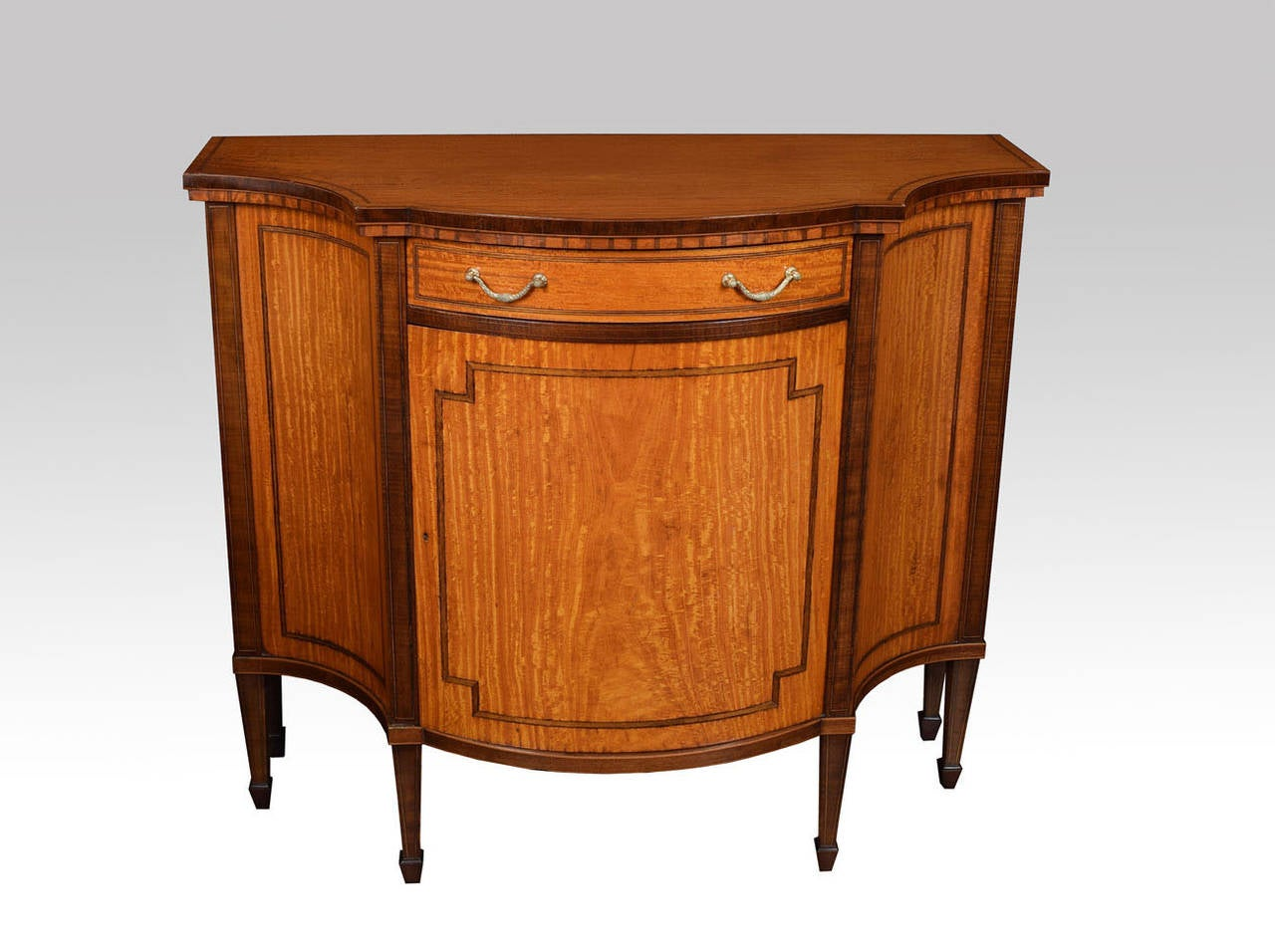 Sheraton Revival Inlaid Serpentine Fronted Cabinet 3