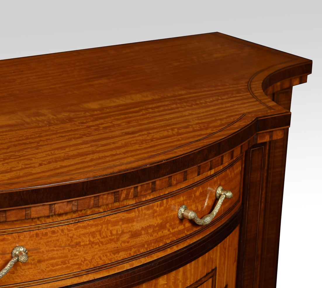 Sheraton Revival Inlaid Serpentine Fronted Cabinet 5