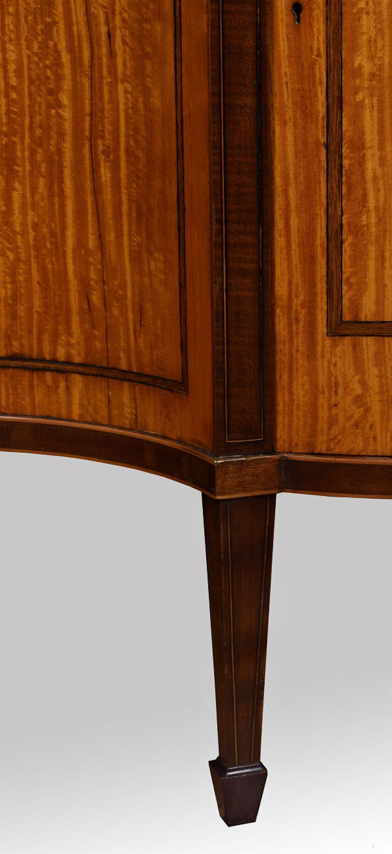 Sheraton Revival Inlaid Serpentine Fronted Cabinet 6