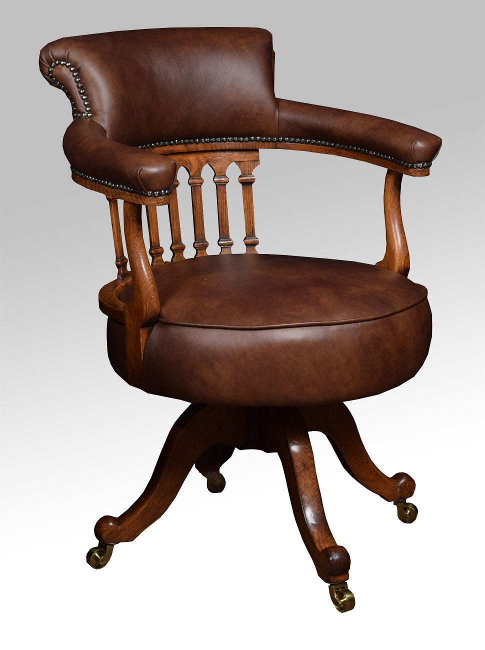 Antique captains chairs - Victorian Mahogany Captains Office Desk Chair 2