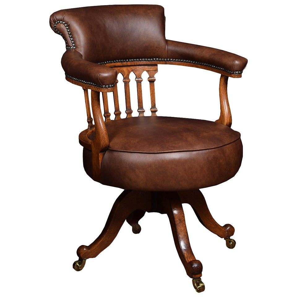 Victorian Mahogany Captains Office Desk Chair At 1stdibs
