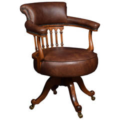 Victorian Mahogany Captains Office Desk Chair