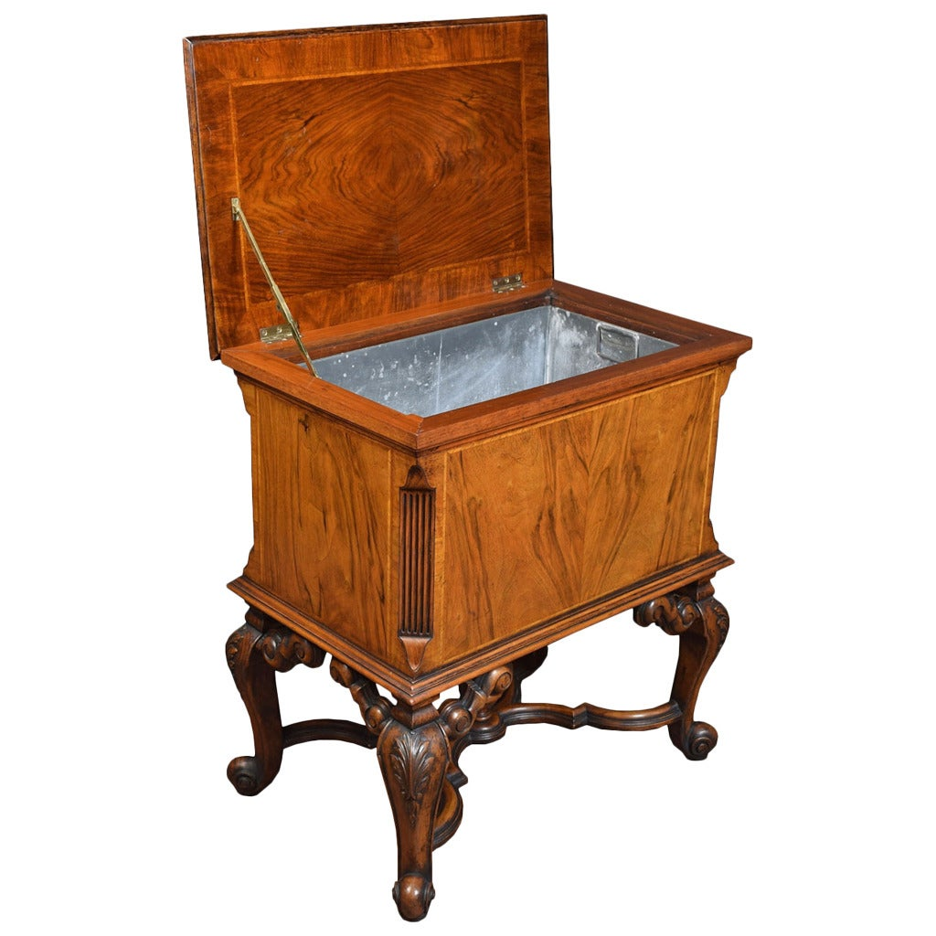Queen Ann Revival Walnut Cellarette By Gill And Reigate At