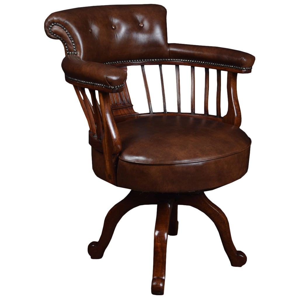 Victorian mahogany captains office desk chair at 1stdibs for Furniture chairs