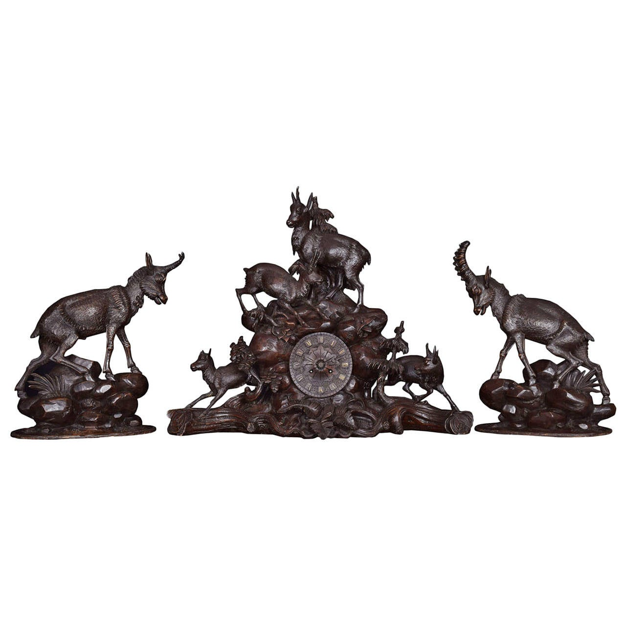 Rare 19th Century Black Forest Mantel Clock Set