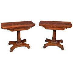 Pair of William IV Mahogany Card Tables