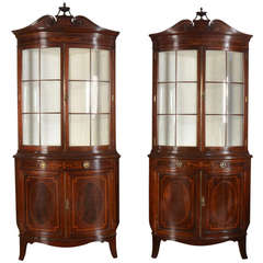 Pair of Mahogany Inlaid Bow Fronted Display Cabinets by Shapland and Petter