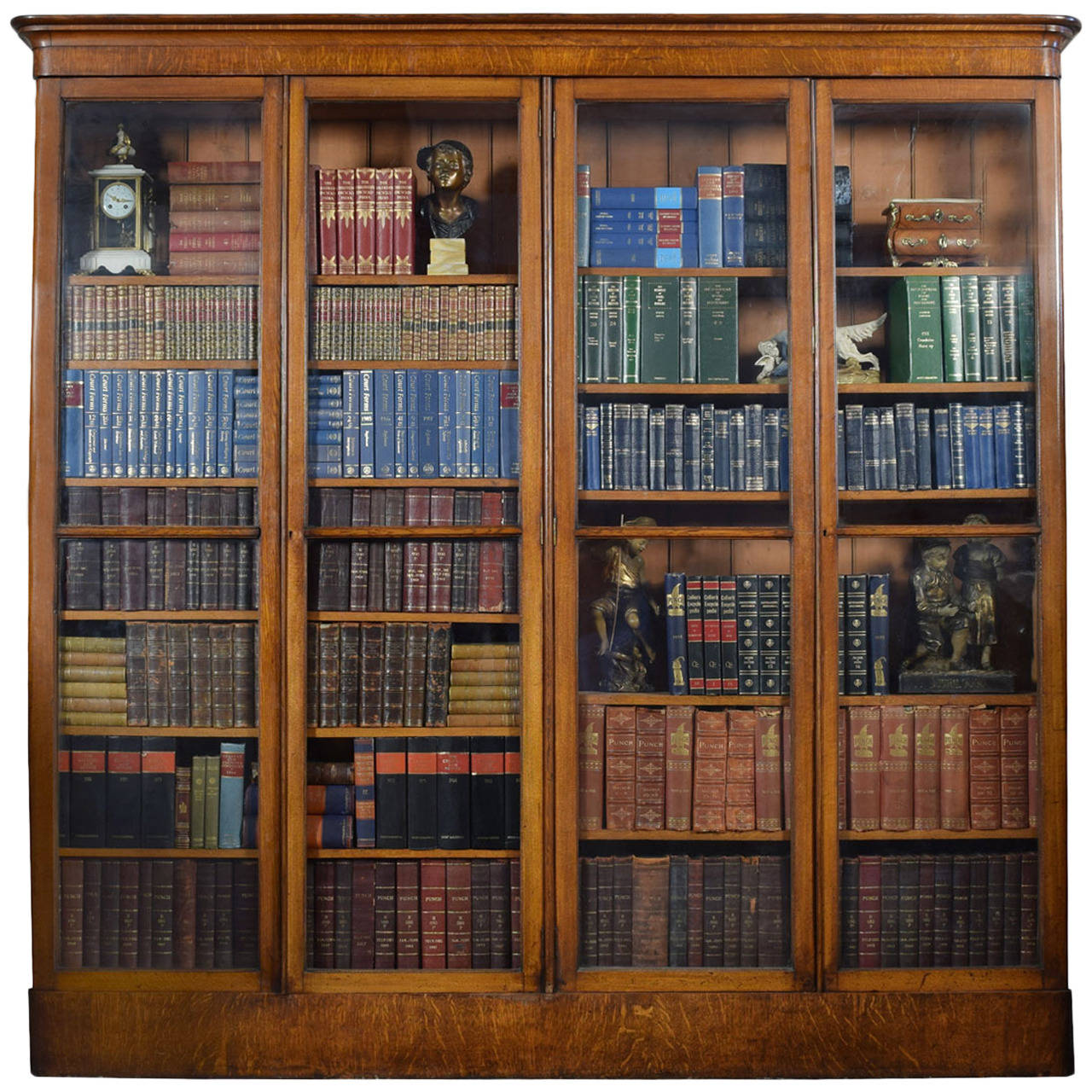 Large Victorian Oak Four Door Glazed Library Bookcase At