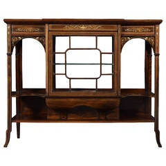 19th Century Rosewood Inlaid Breakfront Display Cabinet