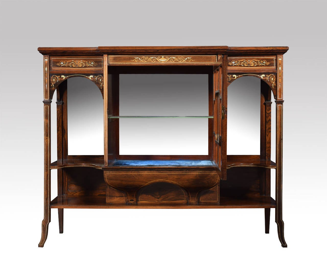 19th Century Rosewood Inlaid Breakfront Display Cabinet 2