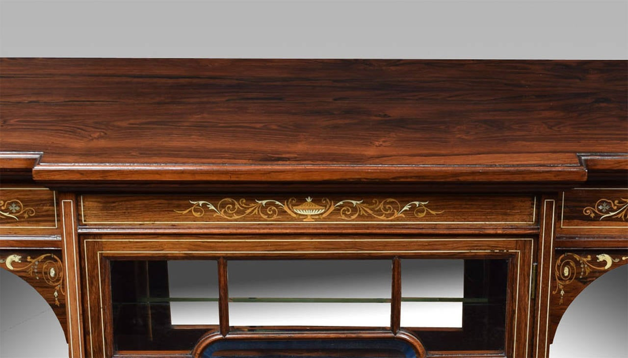 19th Century Rosewood Inlaid Breakfront Display Cabinet 4