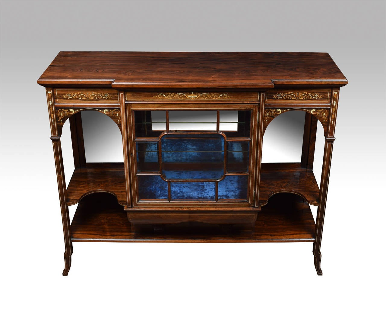 19th Century Rosewood Inlaid Breakfront Display Cabinet 3