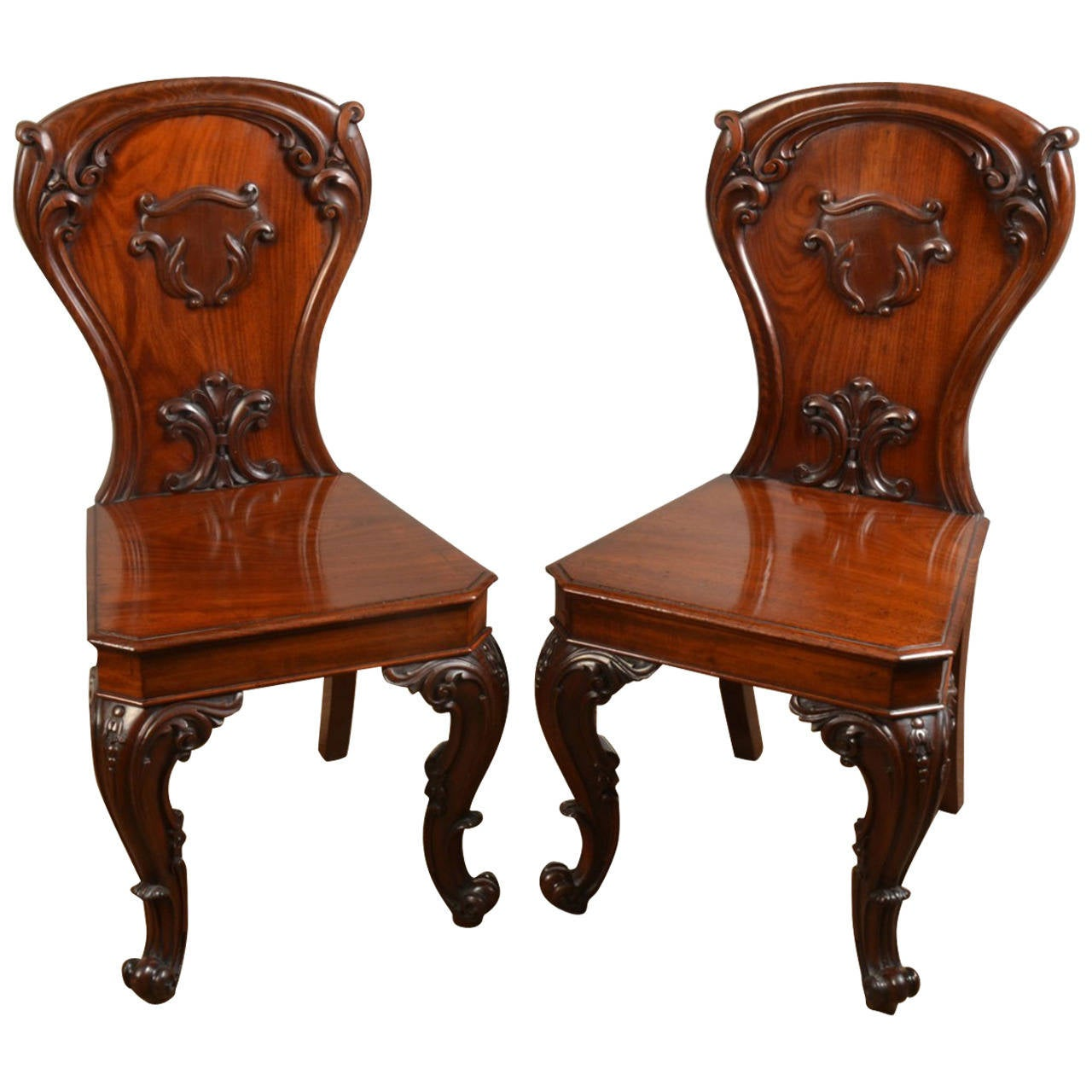 Pair of Victorian Mahogany Hall Chairs 1
