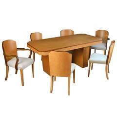 Art Deco Birds-Eye Maple Dining Room Suite