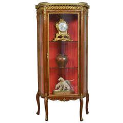 Single Door Demilune Mahogany Display Cabinet