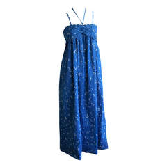 Bill Tice Vintage 1970s Hand Painted Blue Maxi Halter Dress