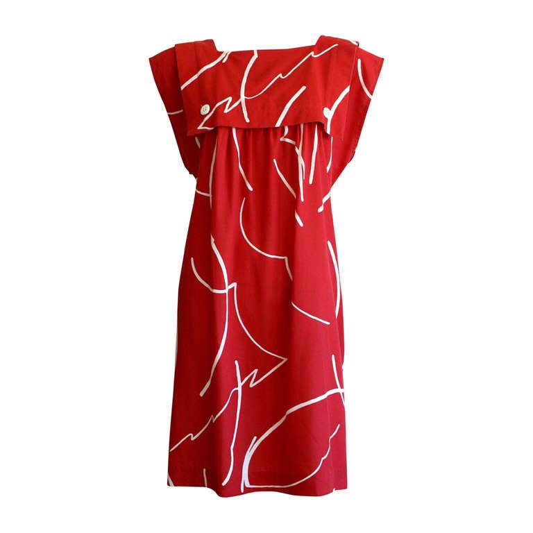 Bill Tice Hand Painted Vintage Red Cotton Graffiti Abstract Empire Dress