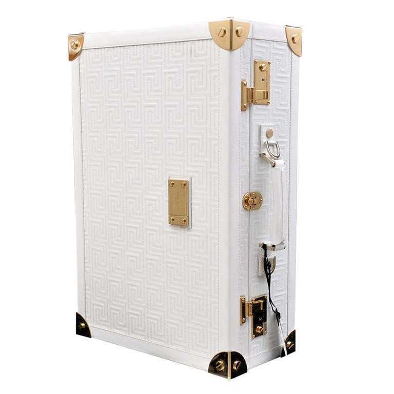 New GIANNI VERSACE COUTURE EMBROIDERED WHITE LEATHER SUITCASE at ...