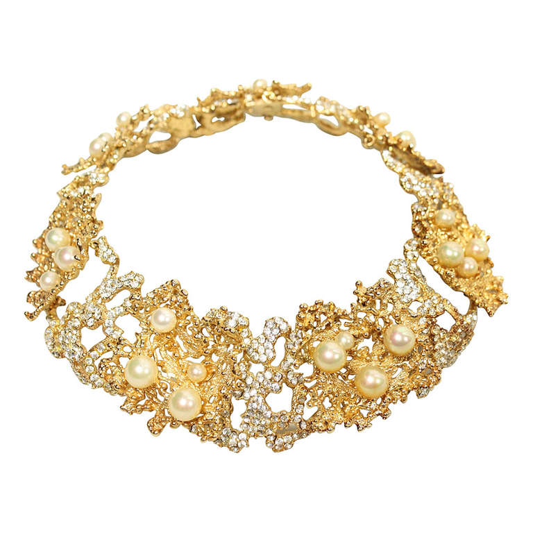 Rare 1968 Christian Dior Necklace with Faux Pearls & Rhinestones 1