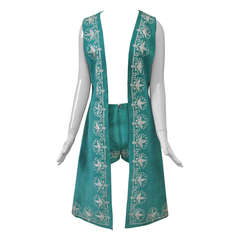Embroidered Turquoise Suede Vest and Hot Pants c. 1970