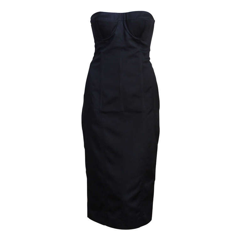 2001 TOM FORD for GUCCI black bustier dress For Sale