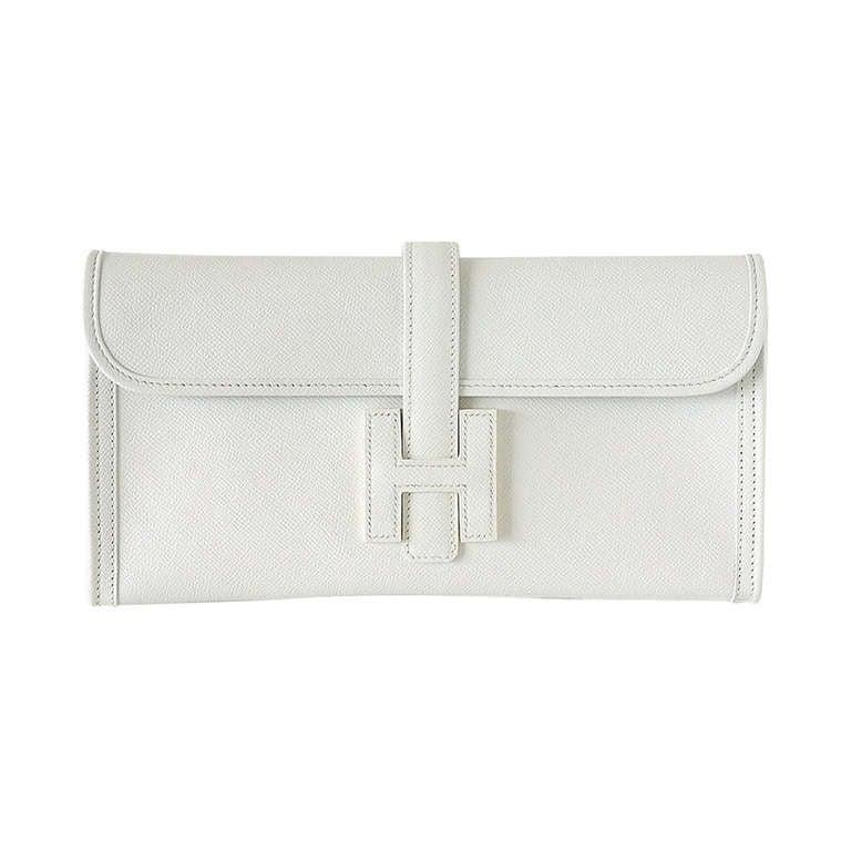 HERMES JIGE Clutch bag chic White EPSOM RARE new at 1stdibs