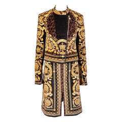 VERSACE BAROQUE PRINTED VELVET JACKET and SKIRT SUIT