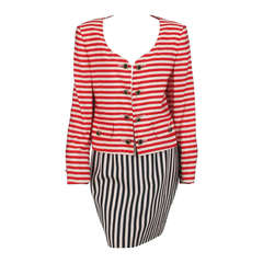 1980s Moschino red/black/white stripe skirt set
